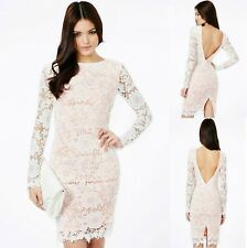 Sz 8 10 White Lace Long Sleeve Formal Prom Cocktail Party Club Slim Midi Dress