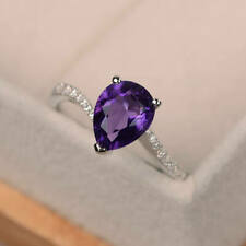 1.40 Ct Amethyst Pear 14K White Gold Natural Diamond Wedding Ring Size 8
