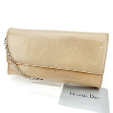 Dior Wallet Purse Long Wallet Beige Silver Woman Authentic Used T2664