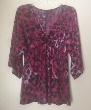 NEW w/o tags - Women's - 3/4 Sleeve Blouse - Sz XL - w/necklace -Pink/Black/Gray