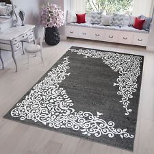 NEW SMALL EXTRA LARGE GREY & WHITE CLASSIC AREA RUG FLORAL DESIGN QUALITY CARPET