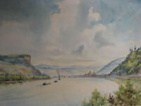 1948 REMAGEN RHINE RIVER Watercolor Painting F. STEINBORN post BRIDGE GERMANY