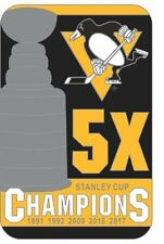 "2017 NHL STANLEY CUP FINAL BANNER STYLE PIN PITTSBURGH PENGUINS ""5X"" CHAMPIONS"