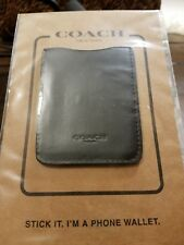 COACH Leather Phone Wallet ID Sticker Black License Credit Card Holder New