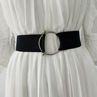 Belts for Women Black Simple Waist Elastic Ladies Band Round Buckle Coat UK