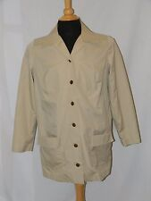 Fab! 70s EMBROIDERED BLUE BIRDS khaki safari BARN CHORE JACKET SZ LARGE