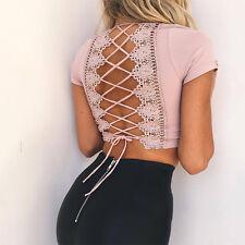 Womens Lace Up Back T-Shirt Short Sleeve Ladies Summer Beach Crop Tops Blouse