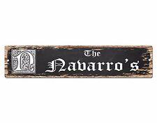 SPFN0388 The NAVARRO'S Family Name Street Chic Sign Home Decor Gift Ideas