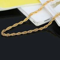 New Solid Pure 18k Yellow Gold Bangle Women Luck Singapore Bracelet 6.7inch 2mmW