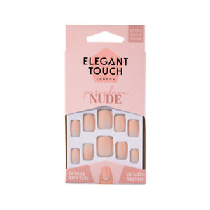 Elegant Touch 24 x NUDE PORCELAIN False Nail Tips&Glue Sqoval Shape-10 days Wear