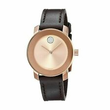 Movado 3600438 Bold Rose Gold Sunray Dial Ladies Dark Brown Leather Watch