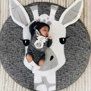 INS Style 90CM Soft Round Cotton Animal Kids Play Mat Crawling Blanket
