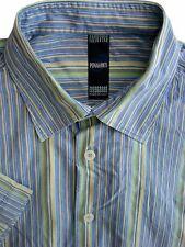Poggianti Camisa Mens 17 XL multicolores rayas manga corta