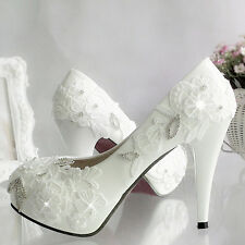 2016 Lace Gems Wedding Formal Bridal Bridemaid Pump High Low Heels flat shoes