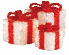 Christmas Decoration 3 Battery Red & White Gift Parcels LED Light up Presents