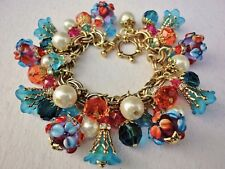 Glass Charm Bracelet Floral Lampwork Southwest Sunset w Vintage M Haskell Chain