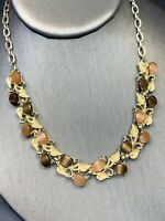"""Vintage 1950's Thermoset Plastic Adjustable Necklace Hook Clasp  Peach Brown 16"""""""