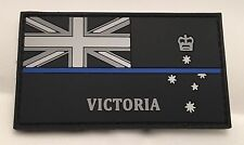Thin Blue Line, VIC Police Rubber / PVC Patch, State Flag, Hook Rear, TBL