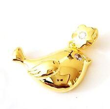 SOLID 14k Yellow Gold Diamond Bird Necklace Pendant Women Girls Fine Jewelry