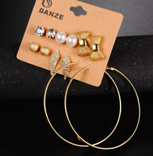 Bow-knot Pearl Earring Set Bow tie Jewelry Earrings Fashion 6 Pairs