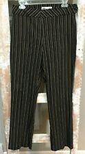 WINDRIDGE CHERYL NASH BLACK GOLD BRONZE STRIPED FLAT FRONT WOMEN'S DRESS PANTS 6