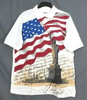 KINGSIZE men's patriotic flag statue LIBERTY POLO shirt XL-8XL pick size big USA