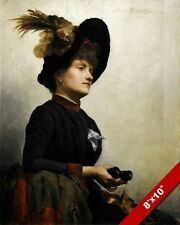 ARISTOCRAT WOMAN IN HAT WITH BINOCULARS PORTRAIT PAINTING ART REAL CANVAS PRINT