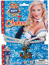 Lady In Navy Rope Choker Sexy Sailor Nautical Marine Fancy Dress