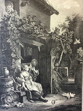 Baudouin Les amours champêtre gravure héliogravure XVIIIe Retirage de 1920.