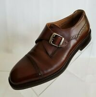 Florsheim Imperial Monk Strap Cap Toe Mens Brown Leather Shoes Italy Size 10D