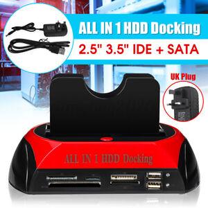 USB 2.0 HDD Docking Station 2 Port External Hard Drive Card SATA IDE Card Reader