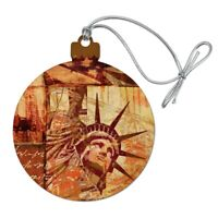 New York City Statue Liberty Tile Collage Wood Christmas Tree Holiday Ornament