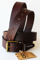 Adam Burk Men's Western Casual Dress Jeans 100% Cow Leather Belt Brown 26AB03