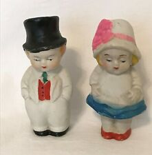 Cute bisque dolls Couple dressed in their Sunday best 3.75 inch made in Japan