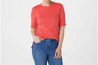 Isaac Mizrahi Live! Essentials Elbow Sleeve Crew Neck Top Sunset Coral Size 2X