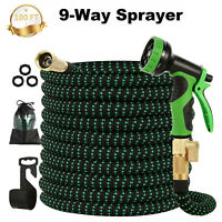 Upgraded Expandable Garden Lightweight Water Hose 9 Way Spray Nozzle 100FT US