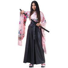 Japan Damen Asia Geisha Cosplay Kostüm Kimono Wickelbluse + Hakama Hosenrock S M