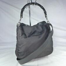 Authentic Rare Vintage Gucci Bamboo Black Canvas Small Tote Shoulder Handbag VGC