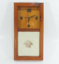 "Quartz Wall Clock Wood Frame With Stone Projectile Point 13.5"" x 7"" x 2.75"""