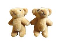 """5x SMALL BROWN CUTE TINY MINIATURE FELT DOLL HOUSE CRAFT TEDDY BEARS 1.4"""" TALL"""