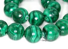 14MM NATURAL MALACHITE GEMSTONE AA GENUINE GREEN ROUND 14MM LOOSE BEADS 15""