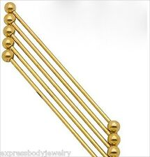 """1 Piece 14g 2 1/2"""" Gold Color Anodize Titanium Industrial Ear Barbell 6Mm Ball"""
