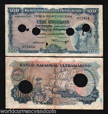 PORTUGUESE INDIA 100 ESCUDOS P43 1959 INDIAN SHIP MONEY BANK NOTE INDIAN  BILL