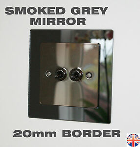 Light Switch Surround - SMOKED GREY MIRROR 20mm BORDER - Finger Plates Covers