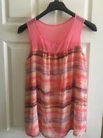 Liz Lange Maternity Women`s Summer Blouse Pink Chiffon Size Medium