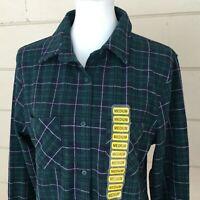 Members Mark Womens Plaid Shirt NWT Blue Top Green Button Front Stretchy Medium