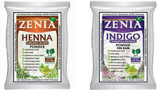 2016 Crop 100g Zenia INDIGO + 100g Zenia HENNA POWDER BLACK HAIR FOIL PACK