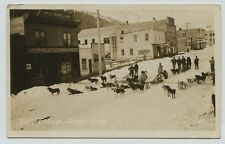 1914 Sled dog racing teams street Seward  Alaska Real Photo Postcard