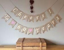 ❤️ 60th Diamond Wedding Anniversary Bunting Banner. Hessian Burlap Vintage