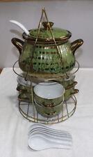 Lustreware Soup Set Green/Gold LgeTureen/Soup Pot, 6 Bowls, Ladle. Spoons, Stand